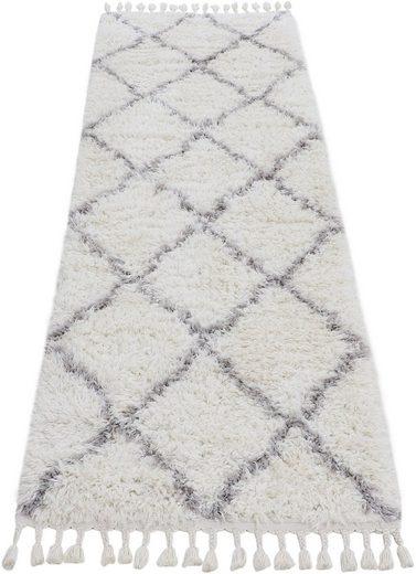 Hochflor-Läufer »Eddy«, carpetfine, rechteckig, Höhe 30 mm, Mit Fransen, Wohnzimmer