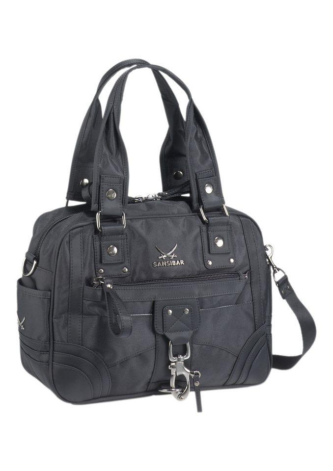 Sansibar Handtasche mit Umhängeriemen in schwarz