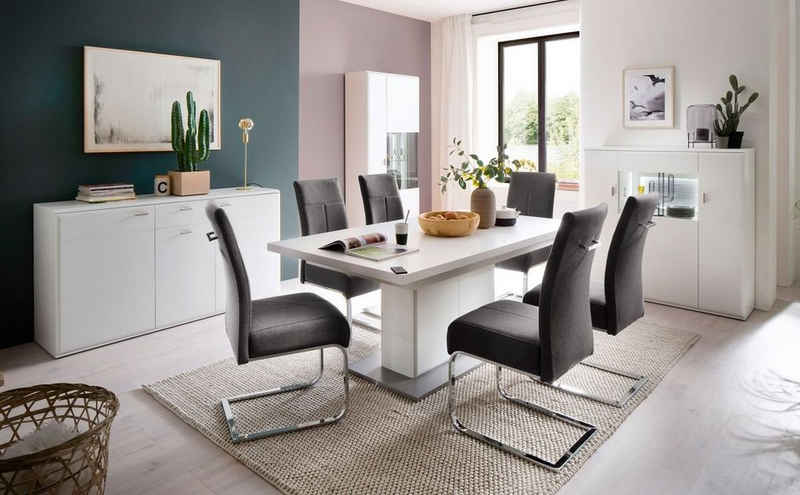 expendio Esszimmer-Set »Alexia 140«, (Spar-Set, 8-St), Weiß matt Nb. vormontiert mit Synchronauszug + 4x Stuhl Faro Feingewebe anthrazit