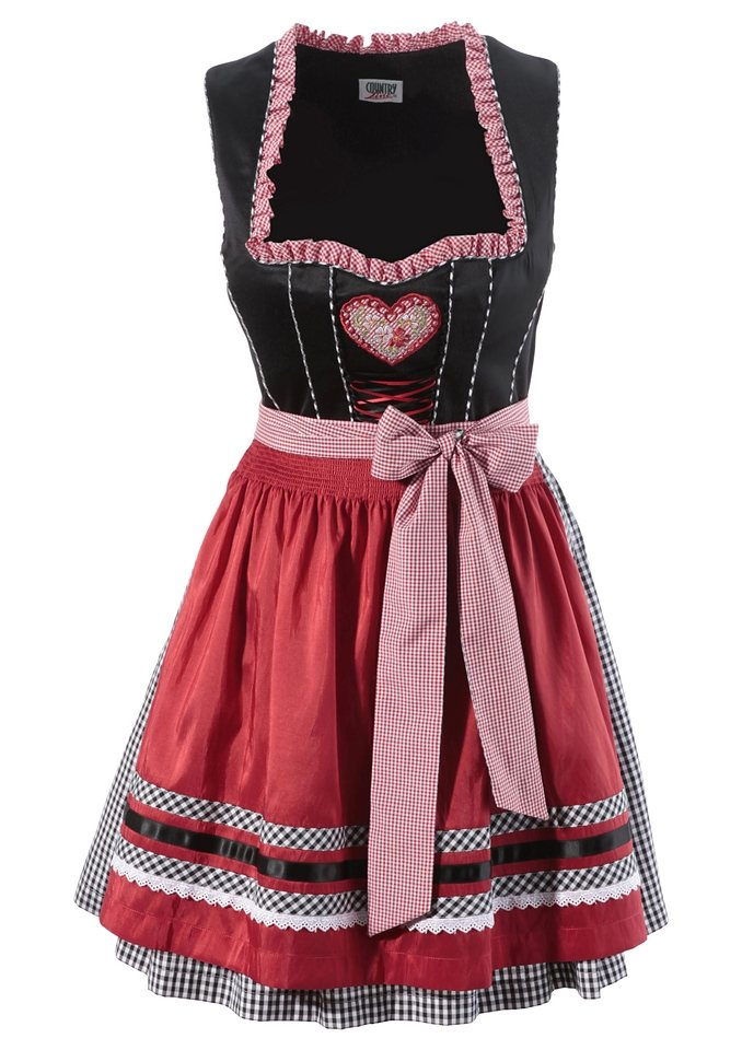 Dirndl, Country Line in schwarz-rot