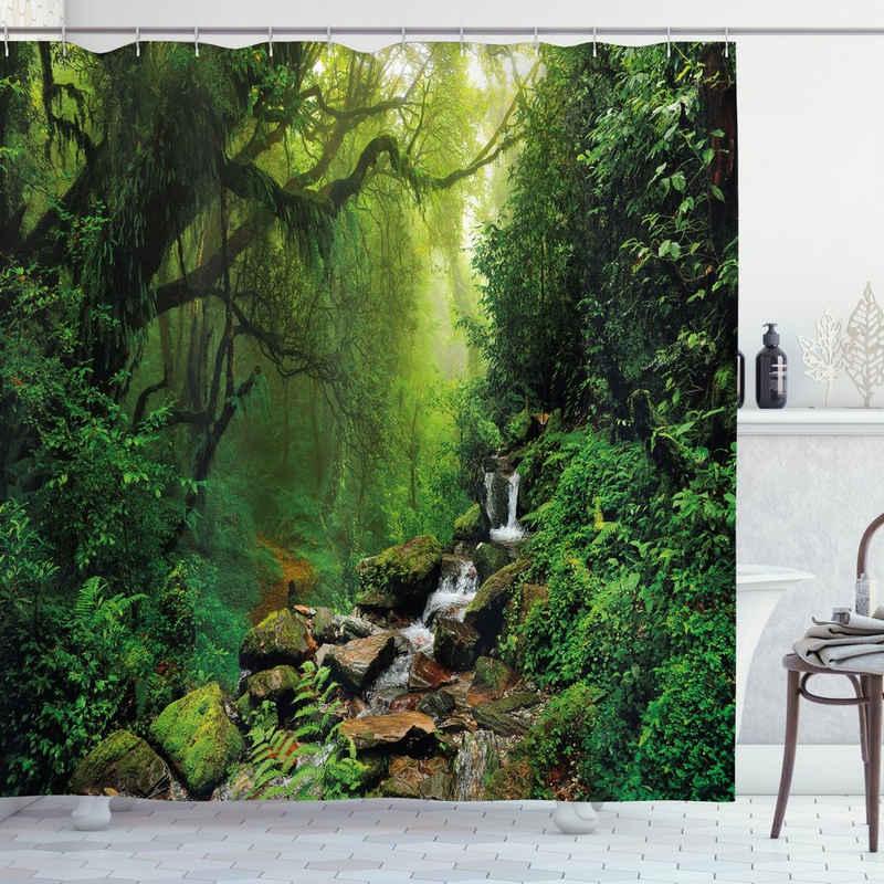 Abakuhaus Duschvorhang »Moderner Digitaldruck mit 12 Haken auf Stoff Wasser Resistent« Breite 175 cm, Höhe 180 cm, Natur Idyllische Wald Entwurf