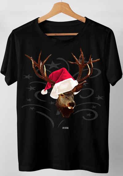 Art & Detail Shirt T-Shirt »T-Shirt Weihnachten Design Hirsch mit Weihnachtsmütze«