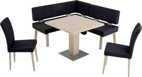 K+W Komfort & Wohnen Eckbankgruppe »SANTOS I«, gleichschenklig 157cm, zwei 4-Fußholzstühle und Tisch 90x90cm in SanRemo Eiche lackiert