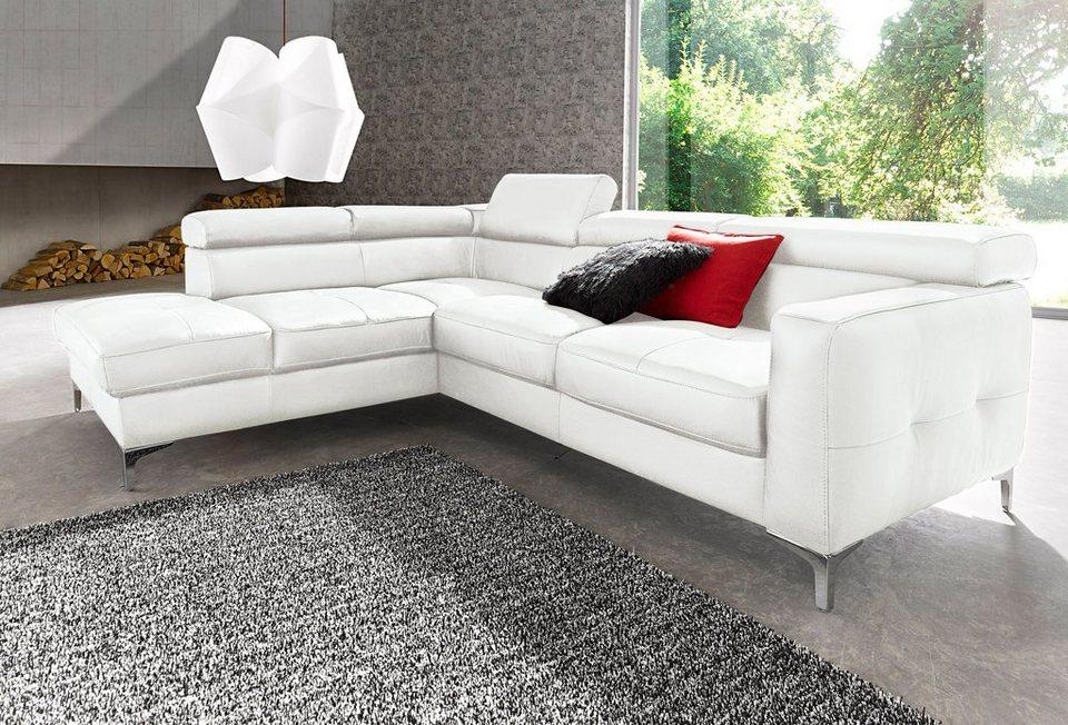 places of style ecksofa wahlweise mit bettfunktion bezugsqualit t naturleder online kaufen otto. Black Bedroom Furniture Sets. Home Design Ideas