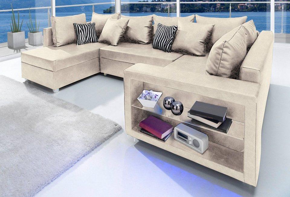 wohnlandschaft wahlweise mit beleuchtung kaufen otto. Black Bedroom Furniture Sets. Home Design Ideas