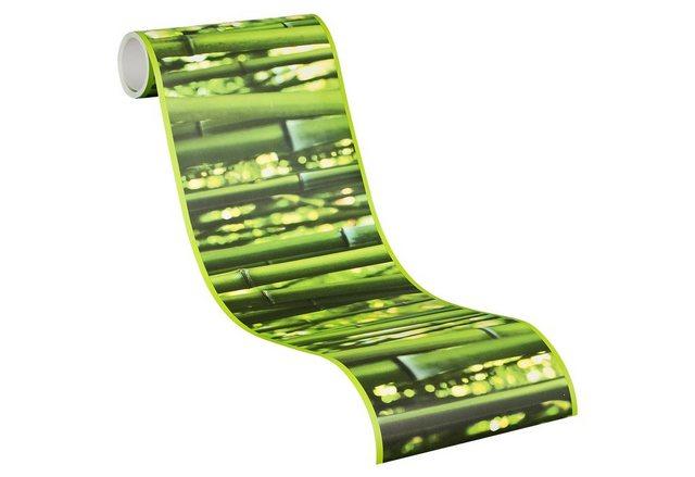 Livingwalls Selbstklebende Bordüre, Bambus, grün