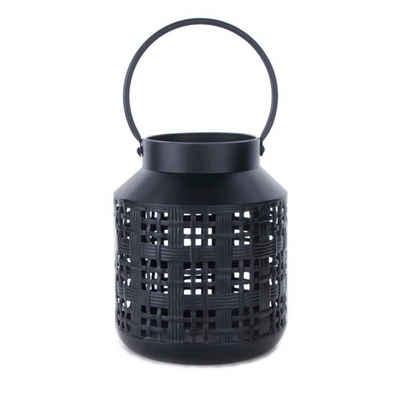 Cosy Home Ideas Laterne »Laterne Metall schwarz mit Henkel Gitter« (1 Stück, 1x Windlicht), Metall schwarz pulverbeschichtet