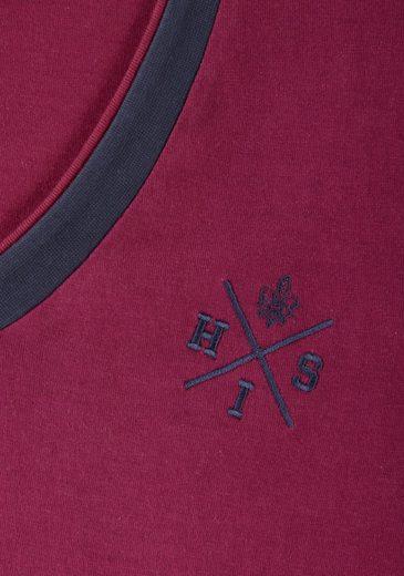 H.I.S Nachthemd mit dezenter Logo-Stickerei & V-Ausschnitt