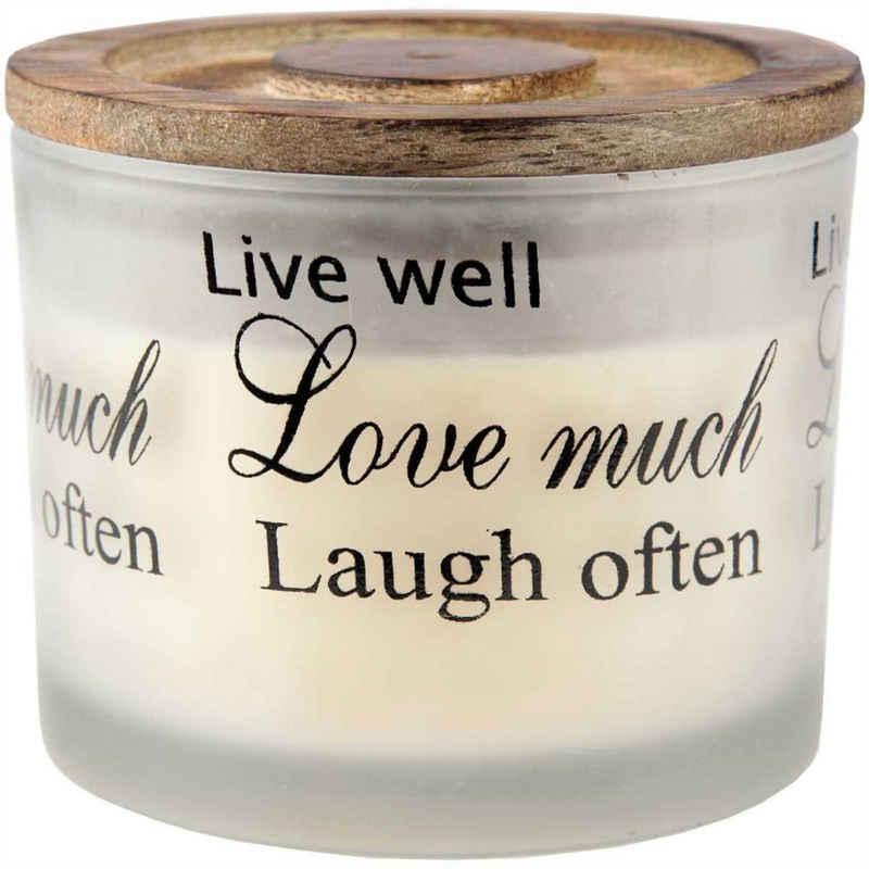 "HS Candle Duftkerze (1-tlg), XL Kerze ""2 Docht"" im Glas, mit Holzdeckel - ca. 40 Std. Brenndauer, Höhe: 8cm, Ø10cm"