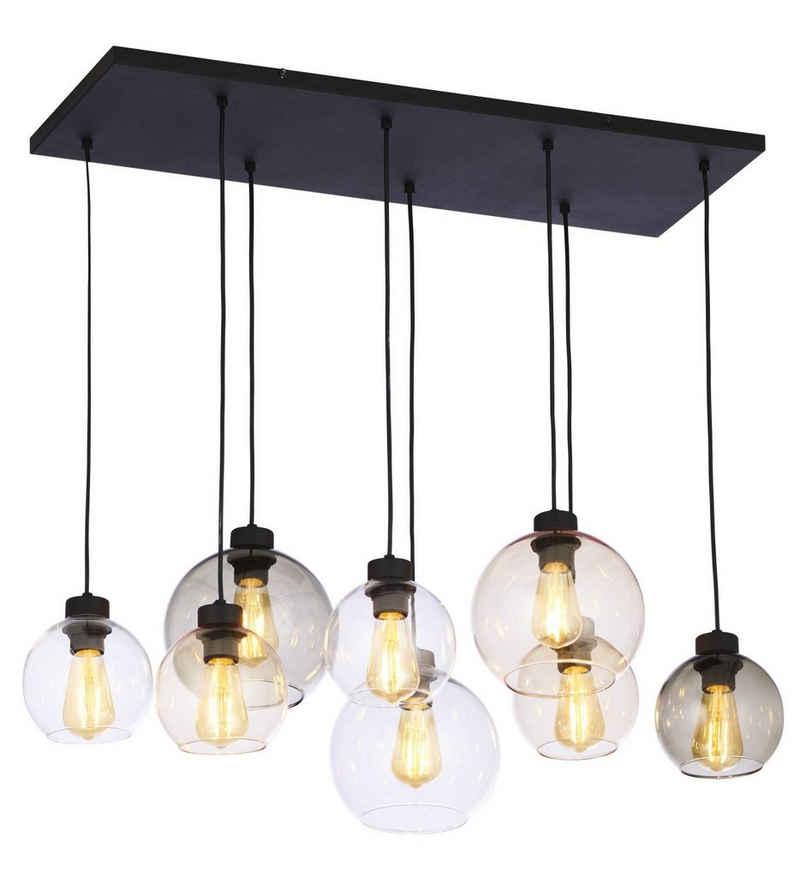 Licht-Erlebnisse Pendelleuchte »KALETE«, Pendelleuchte Wohnzimmer Transparent Graphit Bernstein Glas Vintage Lampe
