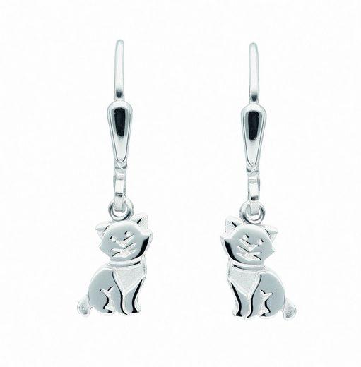 Adelia´s Paar Ohrhänger »925 Silber Ohrringe / Ohrhänger Katze«, Silberschmuck für Damen