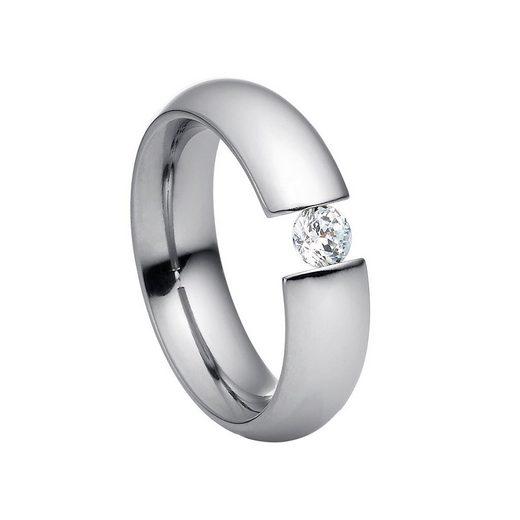 Heideman Fingerring »Intensio Poliert« (1-tlg), Ring mit Stein als Spannring gearbeitet