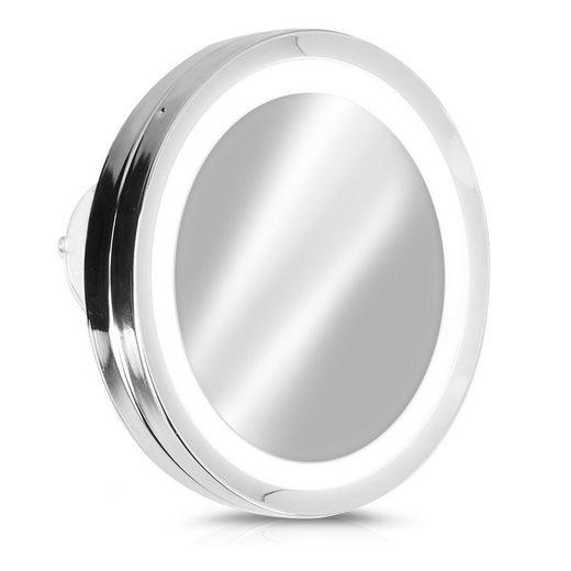 Navaris LED-Lichtspiegel, Vergrößerungsspiegel mit LED Beleuchtung Saugnapf - Spiegel mit 5 fach Vergrößerung - Licht Badspiegel Makeup Kosmetikspiegel