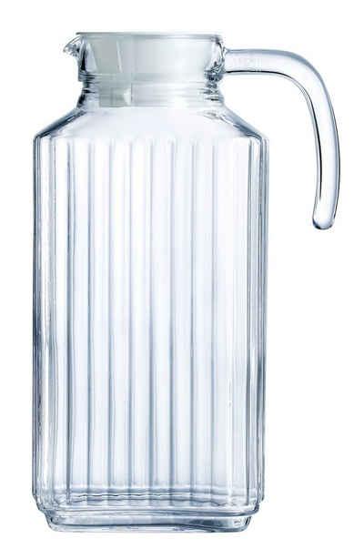 Luminarc Wasserkrug »Quadro«, Krug Kühlschrankkrug mit Deckel 1.7 Liter Glas transparent 1 Stück