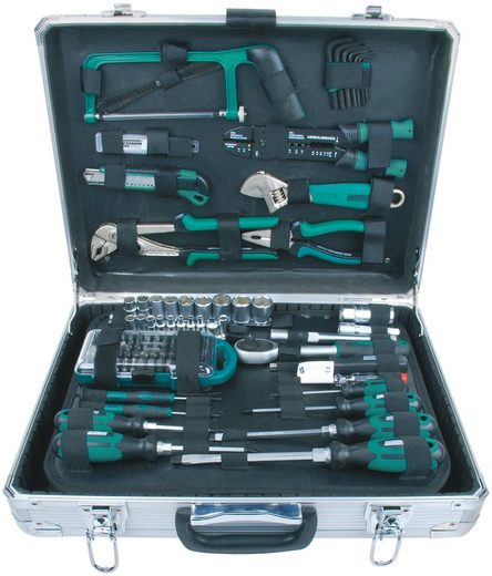 BRUEDER MANNESMANN WERKZEUGE Werkzeugkoffer »Alu-Werkzeugkoffer«, Maße (B/H) 35x13,5 cm, 124-tlg.