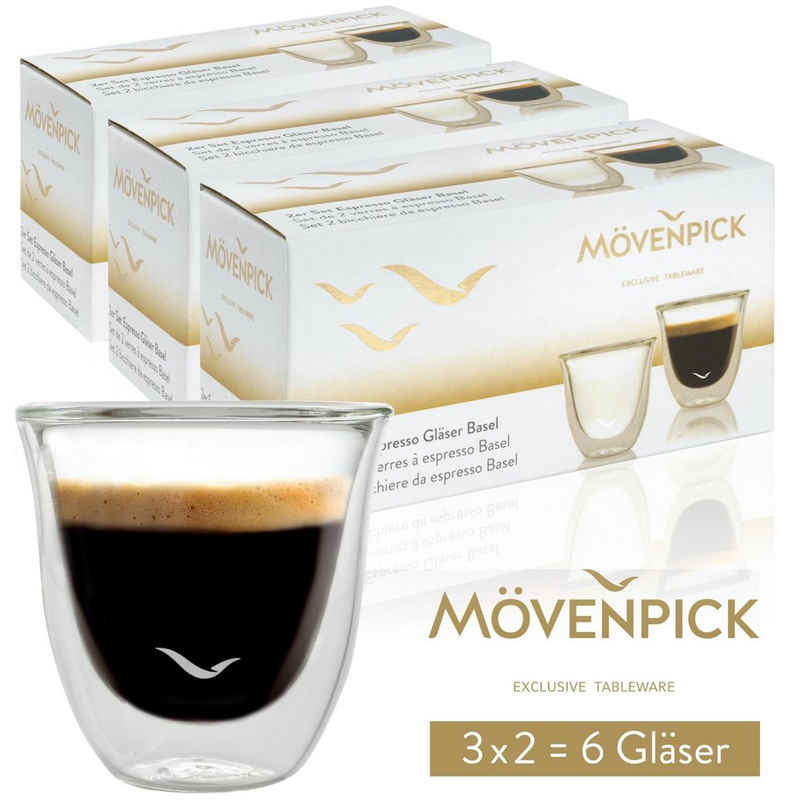 MOEVENPICK Espressoglas »6 x Espresso Gläser«, Borosilikatglas, Doppelwandig 60 ml - Spülmaschinenfest auch für Tee geeignet