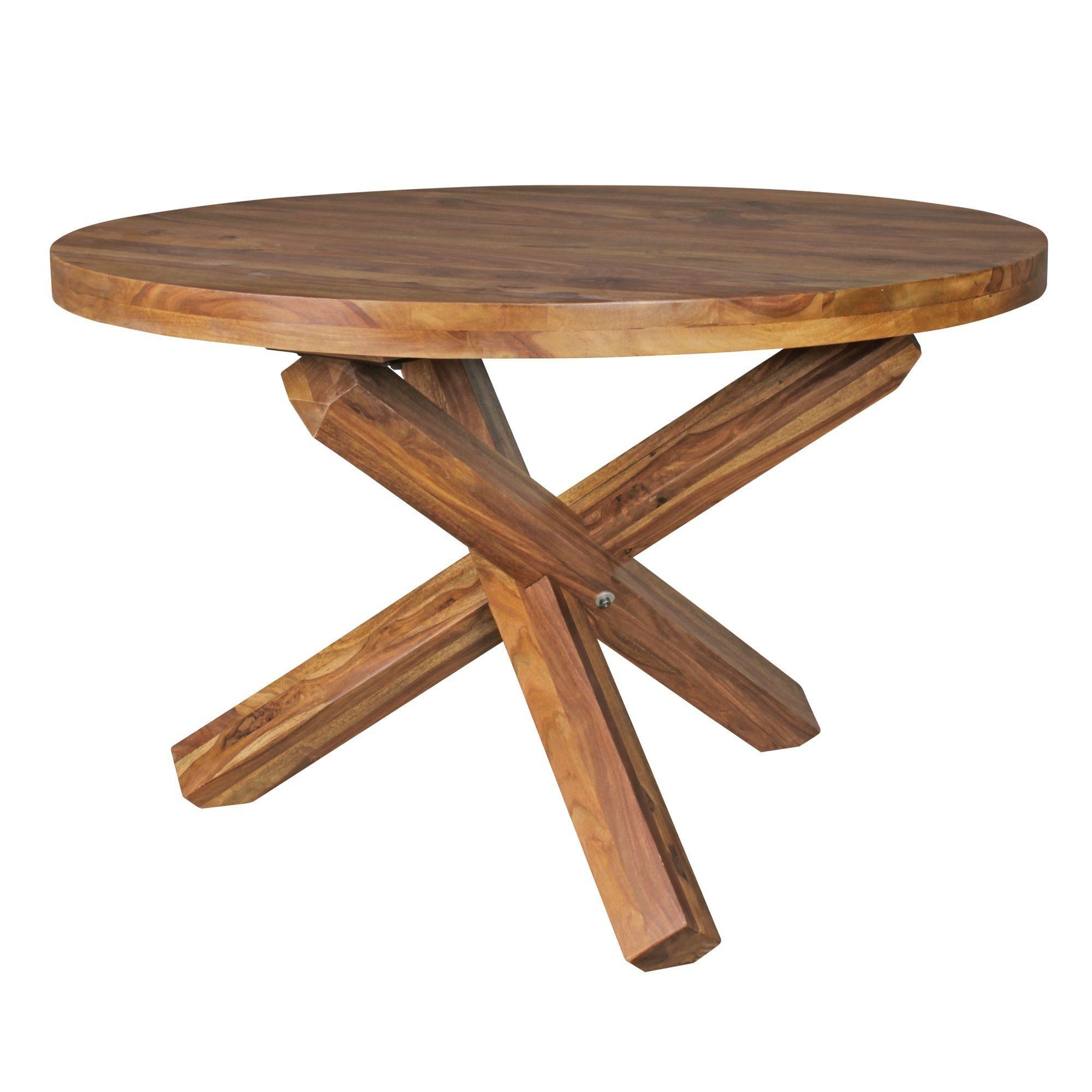 FINEBUY Esstisch »SuVa6334_1«, Design Esszimmertisch rund Ø 120 cm x 75 cm Massiv Holz Landhaus Esstisch 4 Personen Küchentisch Tisch für Esszimmer