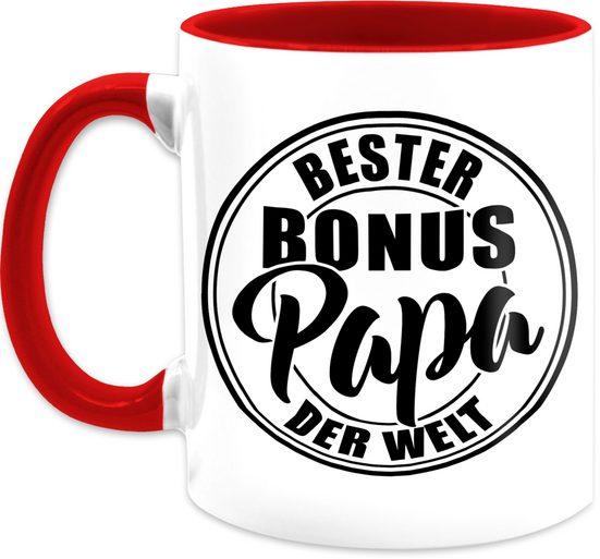 Shirtracer Tasse »Bester bonus Papa der Welt - schwarz - Vatertagsgeschenk Tasse - Tasse zweifarbig«, Keramik