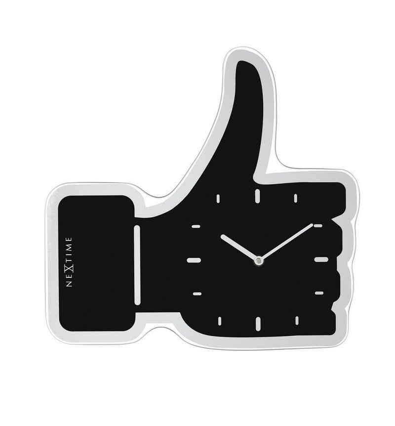 NEXTIME Wanduhr »Wanduhr Designeruhr Uhr Modern Thumbs Up Liken Schwarz 40x41cm Nextime 3072zw«