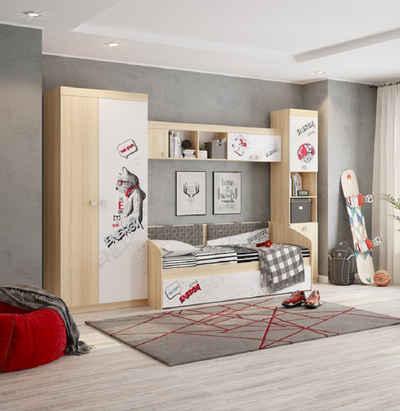 Rodnik Jugendzimmer-Set »Energie«, (Set, 4-St., inkl.: Kinderbett ausziehbar(Sofabett), Kleiderschrank, Bücherschrank, Wandregal)