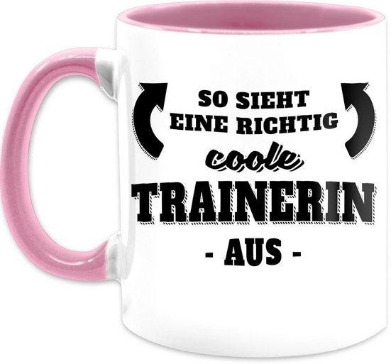 Shirtracer Tasse »So sieht eine richtig coole Trainerin aus - Kaffeetasse mit Spruch - Tasse zweifarbig«, Keramik, Statement Teetasse