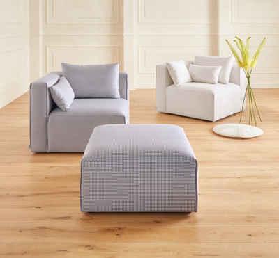 Places of Style Schemel »Akron«, modernes Design in zwei Bezugsqualitäten, grau, NaturLEDER®