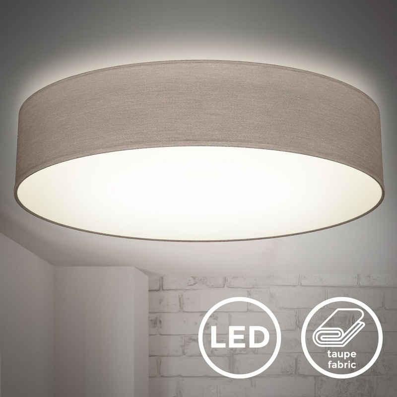 B.K.Licht Deckenleuchte »BKL1395«, LED Deckenlampe, Taupe, 20W LED, 48cm Durchmesser, Neutralweiß 4.000K, 1.800 Lumen, Stoffdeckenleuchte, Wohnzimmer, Schlafzimmer