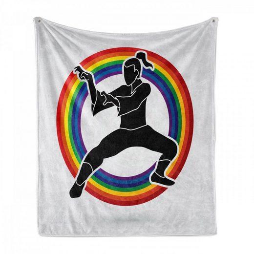 Foulard »Gemütlicher Plüsch für den Innen- und Außenbereich«, Abakuhaus, Kung Fu Karate auf Regenbogen-Kreis