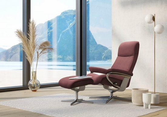 Stressless® Relaxsessel »View« (Set, Relaxsessel mit Hocker), mit Hocker, mit Cross Base, Größe S, M & L, Gestell Whitewash