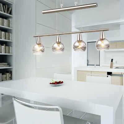 etc-shop Hängeleuchte, Pendelleuchte Esstisch höhenverstellbar Esszimmerlampe Hängeleuchte Glas LED Hängeleuchte 4 flammig, Zugpendel, 4x 4W 4x 200 lm 3000K, LxH 60 x 160 cm