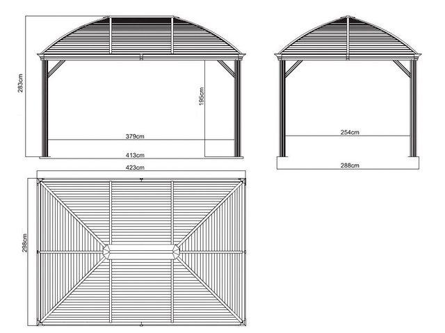 Clemens Hobby Tec Set: Pavillon Moreno 10x14, BxT: 423x298 cm, anthrazit