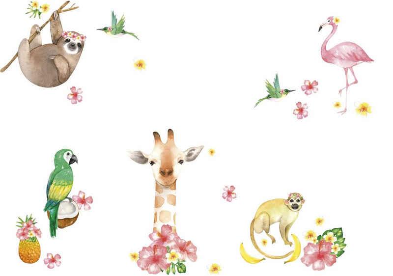 """anna wand Wandsticker »""""Jolly Jungle"""" rosa/beige/grün - Wandtattoo Dschungeltiere«"""