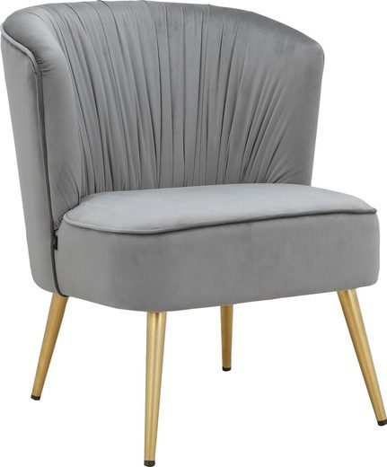 Leonique Loungesessel »Dahlia«, Cocktailsessel mit pflegeleichtem Samtvelours Bezug, mit goldfarbenden Metallbeinen, Sitzhöhe 47 cm