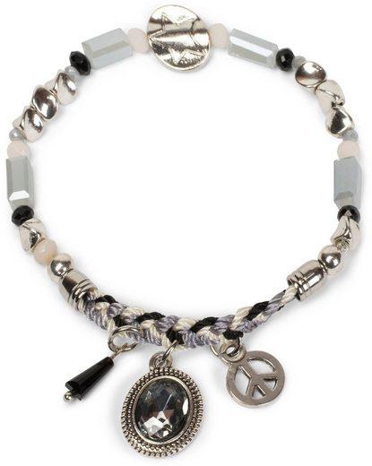 styleBREAKER Armband »Armband mit verschiedenen Perlen, Schmuckstein und Flechtteil«, Armband mit verschiedenen Perlen, Schmuckstein und Flechtteil