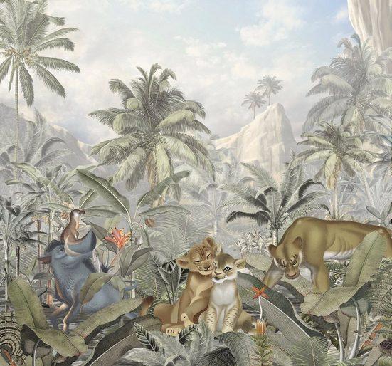 Komar Fototapete »Lion King Mountains«, glatt, mehrfarbig, Comic, (Packung)
