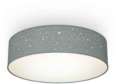 B.K.Licht Deckenleuchte, Textil-Sternenhimmel, Grau, Ø38cm, 2-flammig E27, Stoffdeckenleuchte rund, Schlafzimmerlampe, Textilschirm, ohne Leuchtmittel