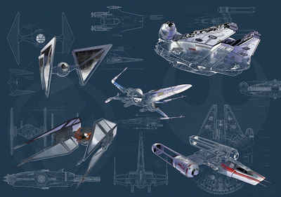Komar Fototapete »Star Wars Blueprint Dark«, glatt, futuristisch, mehrfarbig, Weltall, (Packung)