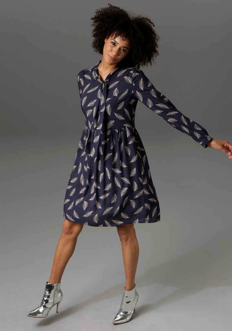 Aniston CASUAL Blusenkleid in unterschiedlichen Blätterdrucken - NEUE KOLLEKTION