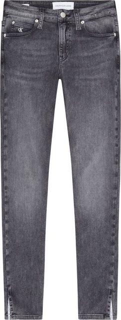 Hosen - Calvin Klein Jeans Skinny fit Jeans »MID RISE SKINNY ANKLE« mit kleinem Schlitz innen mit Calvin Klein Logo Paspel › grau  - Onlineshop OTTO