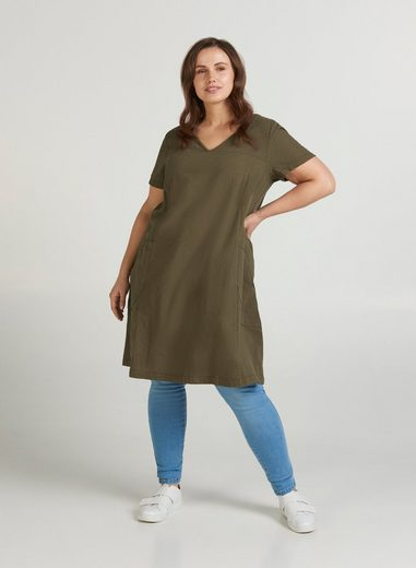 Zizzi Sommerkleid Große Größen Damen Kurzarm Kleid mit V Ausschnitt