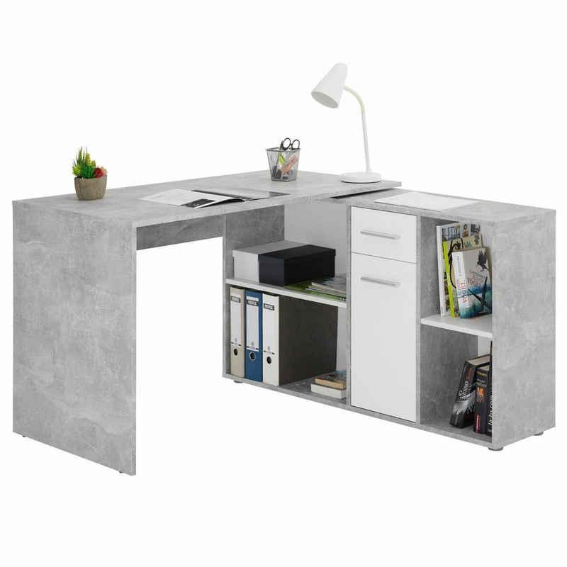 CARO-Möbel Eckschreibtisch »DIEGO«, Eckschreibtisch mit Regal Büro Arbeits Computertisch Winkelschreibtisch Beton
