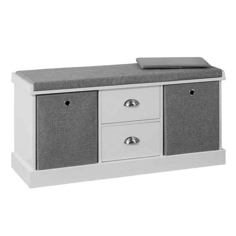 SoBuy Schuhbank »FSR66«, Sitzbank mit 2 grauen Körben und 2 Schubladen