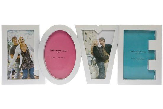 elbmöbel Bilderrahmen »Bilderrahmen LOVE Kunststoff weiß«, für 4 Bilder, Standbilderrahmen: 4er Collage 44x17x3 cm weiß LOVE Letter