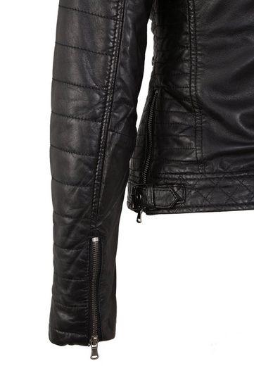 7eleven Lederjacke  Locky  mit asymmetrischem Reißverschluss