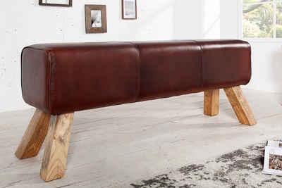 riess-ambiente Sitzbank »TURNBOCK 120cm braun / natur«, mit Echtleder-Bezug