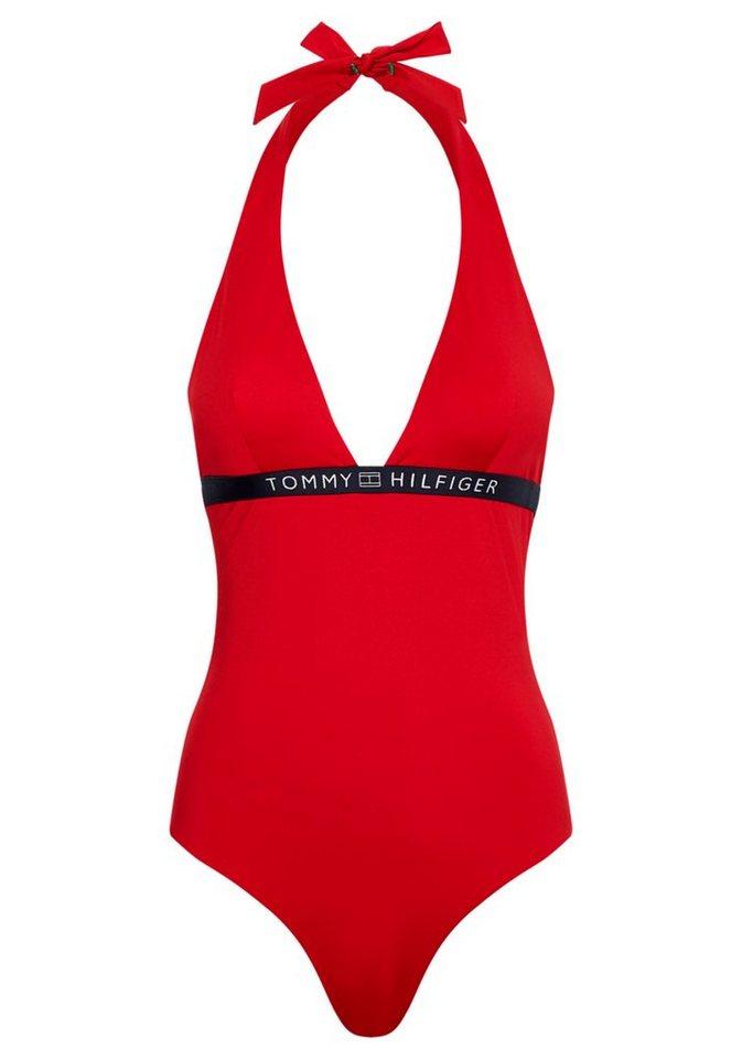 Bademode - TOMMY HILFIGER Badeanzug, mit tiefem V Ausschnitt › rot  - Onlineshop OTTO