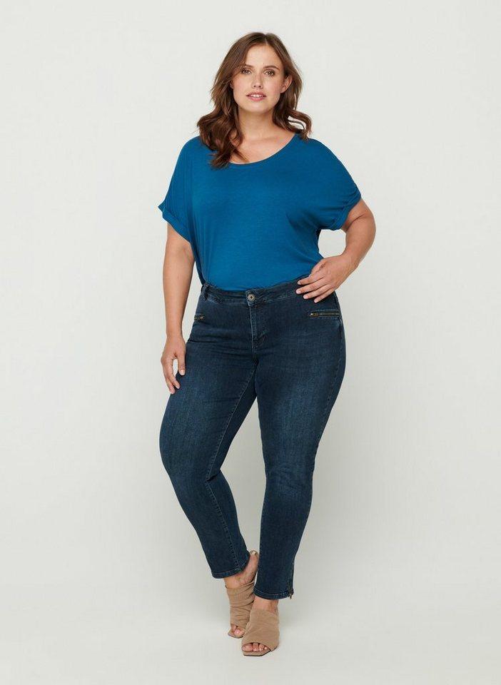 Zizzi Slim-fit-Jeans Große Größen Damen Cropped Slim Fit ...