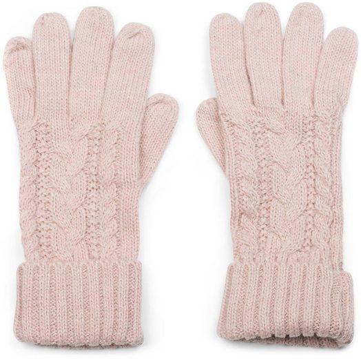 styleBREAKER Strickhandschuhe Strick Handschuhe mit Zopfmuster und Metallic Faden
