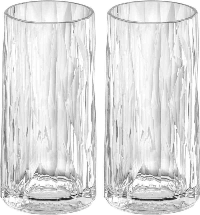 KOZIOL Longdrinkglas »CLUB No. 8«, Kunststoff, tolles Facettendesign, unzerbrechlich, 100% recycelbar, made in Germany, spülmaschinengeeignet, 300ml, 2er-Set