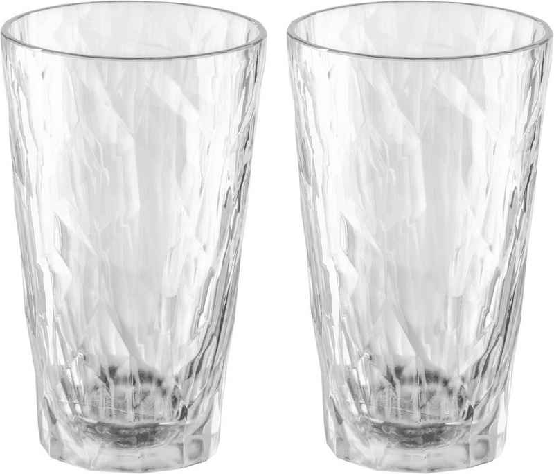 KOZIOL Longdrinkglas »CLUB No. 6«, Kunststoff, tolles Facettendesign, unzerbrechlich, 100% recycelbar, made in Germany, spülmaschinengeeignet, 300ml, 2er-Set